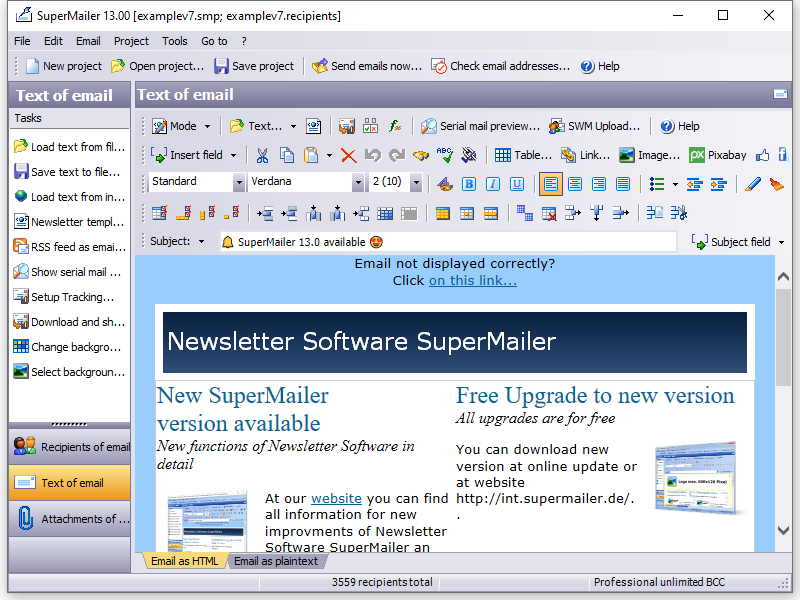 Newsletter Software SuperMailer to create and send HTML